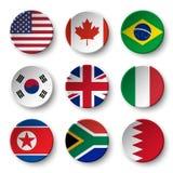 El sistema del mundo señala por medio de una bandera alrededor de las insignias los E.E.U.U. canadá brazil EL SUR COREA Reino Uni ilustración del vector