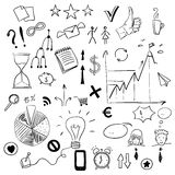 El sistema del negocio garabatea elementos Imagen de archivo libre de regalías