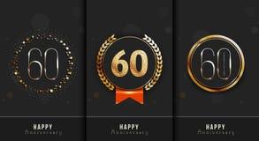 El sistema del 60.o aniversario feliz carda la plantilla Fotos de archivo libres de regalías