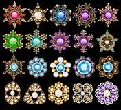 el sistema del ornamento de los colgantes del vintage de la joyería hecho de sea Fotos de archivo