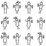El sistema del palillo figura, gente del palillo que da los pulgares para arriba, los pulgares abajo, aprobando, desaprobando, lo ilustración del vector