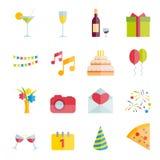 El sistema del partido y la celebración vector iconos planos Imágenes de archivo libres de regalías