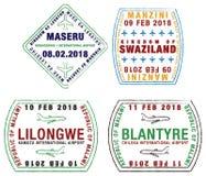 El sistema del pasaporte estilizado sella para los aeropuertos de África stock de ilustración