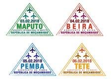 El sistema del pasaporte estilizado sella para los aeropuertos importantes de Mozambique libre illustration