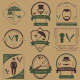 El sistema del peluquero del vintage, el peinado y los caballeros aporrean logotipos Vecto ilustración del vector