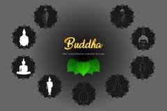El sistema del phra del monje de Buda de la silueta ruega el frente compuesto concentración del lanzamiento del ejemplo de la fe  libre illustration