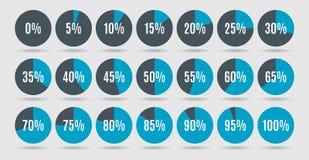 El sistema del porcentaje colorido del círculo diagrams para el infographics, 0 5 10 15 20 25 30 35 40 45 50 55 60 65 70 75 80 85 Foto de archivo libre de regalías