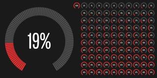 El sistema del porcentaje del sector circular diagrams a partir la 0 a 100 Imagen de archivo