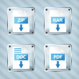 El sistema del rar del vidrio, la cremallera, el doc. y el pdf transfieren iconos Fotos de archivo
