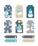 El sistema del regalo de la Feliz Navidad y del Año Nuevo marca con etiqueta y las tarjetas Ilustración del vector ilustración del vector