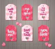 El sistema del regalo del día del ` s de la tarjeta del día de San Valentín marca con etiqueta Fotografía de archivo libre de regalías