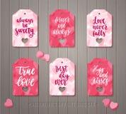 El sistema del regalo del día del ` s de la tarjeta del día de San Valentín marca con etiqueta Imagen de archivo