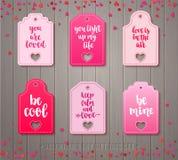 El sistema del regalo del día del ` s de la tarjeta del día de San Valentín marca con etiqueta Foto de archivo