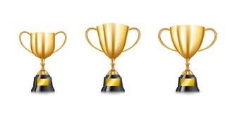 El sistema del trofeo de oro ahueca la colección aislada en el backgroun blanco Fotografía de archivo