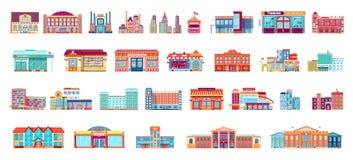 El sistema del vector aisló edificios de la arquitectura de los iconos en estilo plano ilustración del vector