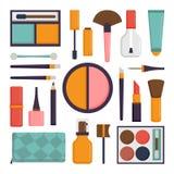 El sistema del vector compone cepillos y el icono del cosmético de la moda de la belleza Imagen de archivo