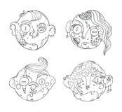 El sistema del vector con los zombis dibujados mano del garabato dirige Ejemplo de la tinta con los caracteres preciosos en blanc ilustración del vector