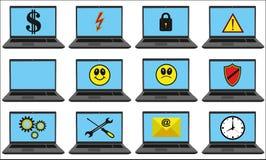 El sistema del vector de 12 coloreó los iconos para el negocio y la comunicación Imagen de archivo libre de regalías