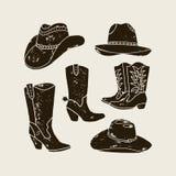 El sistema del vector de diverso vaquero Hats y las botas siluetean stock de ilustración
