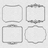 El sistema del vector de elementos caligráficos del diseño pagina la etiqueta de la decoración, del premio y de la satisfacción g Imagen de archivo
