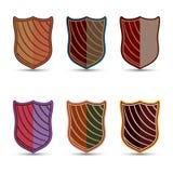 El sistema del vector de escudos coloreados Foto de archivo libre de regalías