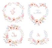 El sistema del vector de flores retras lindas arregló la O.N.U una forma de la guirnalda perfecta para casarse invitaciones y tar Foto de archivo libre de regalías