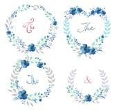 El sistema del vector de flores retras lindas arregló la O.N.U una forma de la guirnalda perfecta para casarse invitaciones y tar Imagenes de archivo