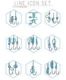El sistema del vector de ganchos de pesca alinea iconos con Imagen de archivo