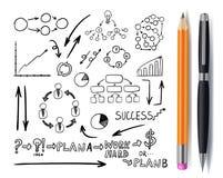 El sistema del vector de garabatos del negocio, da iconos exhaustos con la pluma y el lápiz, aislado, bosqueja stock de ilustración