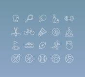 El sistema del vector de 20 iconos y firma adentro la mono línea estilo ilustración del vector