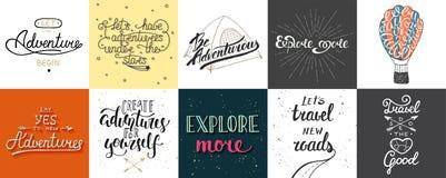 El sistema del vector de la aventura y del viaje da tipografía única exhausta stock de ilustración