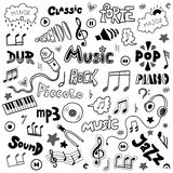El sistema del vector de la mano dibujado garabatea en tema de la música Imagenes de archivo