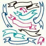 El sistema del vector de la mano dibujado texturizó cintas retras Fotografía de archivo