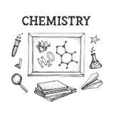 El sistema del vector de la teoría y de la ecuación de la fórmula de la vinculación, icono modelo de la ciencia de la química de  stock de ilustración