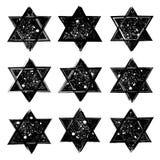 El sistema del vector de las estrellas de David creó en estilo del grunge ilustración del vector