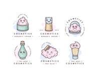El sistema del vector de logotipos diseña plantillas y los emblemas o las insignias para la belleza cuidan Cosméticos asiáticos - Imagen de archivo libre de regalías
