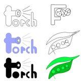 El sistema del vector de los logotipos para las palabras torch, zorro y los guisantes Foto de archivo