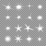 El sistema del vector de luz que brilla intensamente estalla con las chispas ilustración del vector