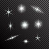 El sistema del vector de luz que brilla intensamente estalla en negro ilustración del vector