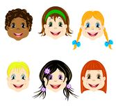 El sistema del vector de niños dirige con diversos tipos de corte de pelo y los colores de los ojos hacia avatares e iconos Imagenes de archivo