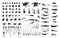 El sistema del vector de tinta salpica el elemento del diseño del grunge de la colección de la salpicadura de las manchas blancas ilustración del vector