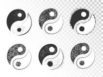 El sistema del vector de yin dibujado mano yang firma Imagen de archivo libre de regalías