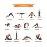 El sistema del vector de yoga presenta en el fondo blanco Concepto de Asana Fotos de archivo