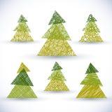 El sistema del vector del árbol de navidad, mano dibujada alinea texturas ilustración del vector
