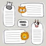 El sistema del vector del garabato divertido dibujado mano marca con etiqueta con los animales, bosquejo Imagen de archivo