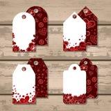 El sistema del vector del regalo marca con etiqueta para el día de tarjeta del día de San Valentín Fotos de archivo
