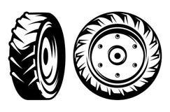 El sistema del vector del tractor monocromático rueda diferentes tipos Fotografía de archivo