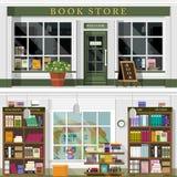 El sistema del vector detalló la fachada y el interior planos de la librería del diseño Diseño interior gráfico fresco para la li libre illustration