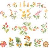 El sistema del vector florece en estilo popular ucraniano Imágenes de archivo libres de regalías