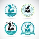 El sistema del vector las vacas lecheras etiqueta Fotografía de archivo libre de regalías
